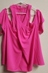 NWT Rachel Roy Hot Pink Cold Shoulder Top 20W
